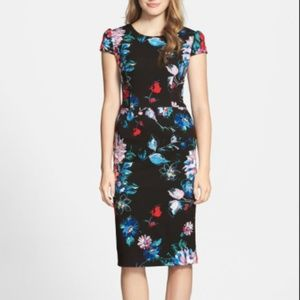 Betsey Johnson Floral Cap Sleeve Stretch Dress
